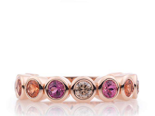 Confetti ring met saffier en champagne diamant - 8RR4707SUN
