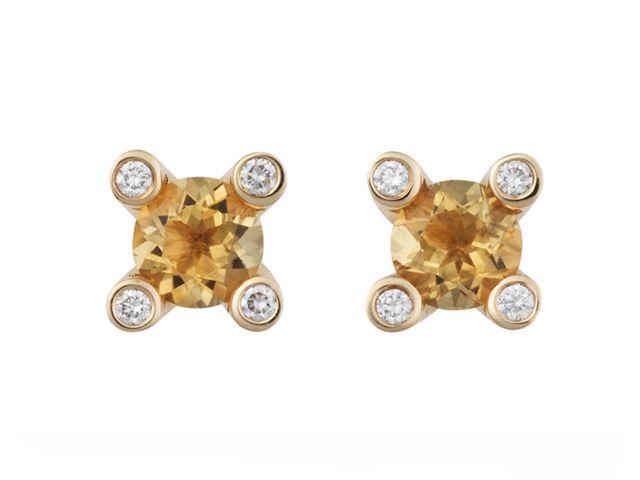 Phlox oorknopjes met citrien en witte diamant - 8OG4750CIBR