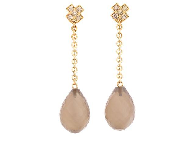 Joy oorhangers met champagne diamant en maansteen drops - 8OR4794CBRMGB