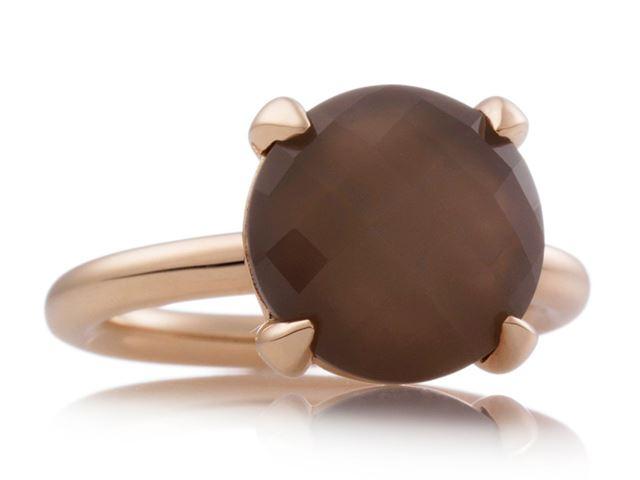 Catch ring met schaakbord geslepen bruine maansteen - 8RR4783MSS