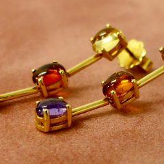 Earrings gold gemstones