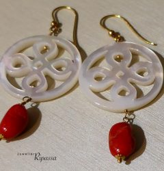 14 carat earrings blood coral