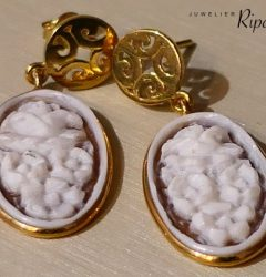 Earrings 14crt cameo